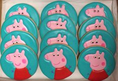 Peppa Pig Cookies  One Dozen by CookiesByHannah on Etsy, $24.00