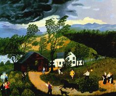 """""""The Thunderstorm"""" by Grandma Moses - Anna Mary Robertson Moses (1860–1961), was an American folk artist who began her career as a painter at the age of 78."""