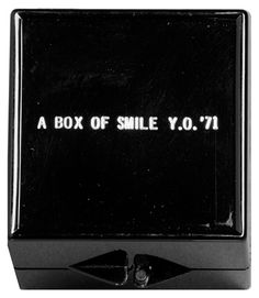 """Happiness?, Cat 55  Yoko Ono, A Box of Smile, 1971/1984 ReFlux Edition, plastic box inscribed in gold: """"a box of smile y.o. '71."""" Hood Museum of Art, Dartmouth College"""