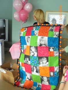 Memory quilt - save favorite outfits as your kids grow , add photos, stitch it all together, and cozy up to your favorite memories