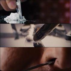 En los momentos en que los personajes se drogan,se hace hincapié en ello realizando planos detalle muy cortos
