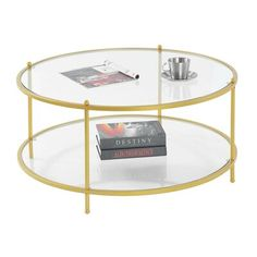 Wrought Studio Stamford Coffee Table Table Base Color: Gold Coffee Table Metal Frame, Stone Coffee Table, Glass Top Coffee Table, Lift Top Coffee Table, Round Coffee Table, Modern Coffee Tables, Glass Table, Narrow Living Room, Coffee Tables For Sale