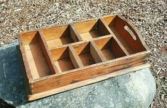 Antique Divided Wood Box Crate Nick Knacks Nails Screws Samples x Wooden Crates With Handles, Old Wooden Crates, Antique Wooden Boxes, Wooden Storage Boxes, Wood Boxes, Port Ludlow, Rustic Fabric, Nails And Screws, Box Shelves