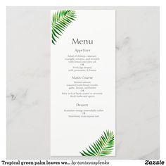 Tropical green palm leaves wedding menu Fresh Figs, Fresh Herbs, Baby Rack, Wedding Dinner Menu, Appetizer Salads, Keep It Cleaner, Palm, Merry, Tropical