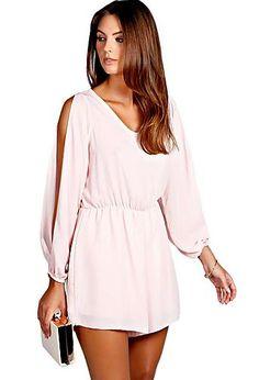e0f14f4e0707 Petite Bella Split Sleeve Crepe Playsuit Beautiful Outfits