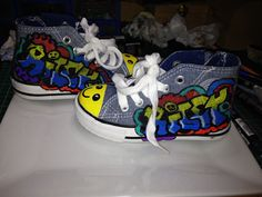 Painted canvas boots for my grandson Riley