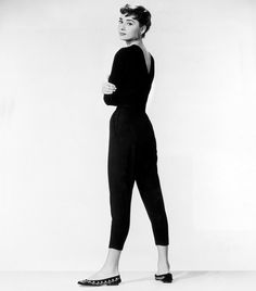 Steal this Hepburn style trick: add interest to a basic outfit with a pair of embroidered ballet flats.