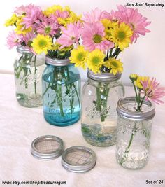 Mason Jar Gift 24 Flower Lids Garden Party Favors Mason Jar Flower Frog Lids, Showers, Event, DIY Home Party Decor, Flower LIDS only