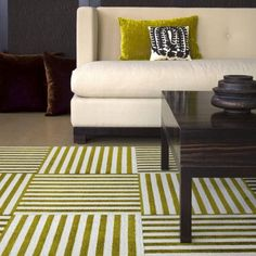 Love how carpet tiles are easy to pop in and make a difference splash (source: Katie Rosenfeld Design)