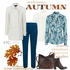 """Undeniable winter white jacket, Fantasia blouse, Corded blue pant; Etcetera Fall Collection"" by biseletcetera on Polyvore"