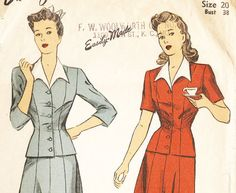 DuBarry 5733 Vintage 1940s Two Piece Dress With by DRCRosePatterns