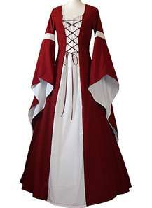 So pretty medieval dress costume red and white Renaissance Costume, Medieval Costume, Renaissance Clothing, Renaissance Fashion, Medieval Dress, Dresses Uk, Cute Dresses, Vintage Dresses, Fantasy Gowns