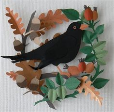 Helen Musselwhite. Where I live at the moment I can see two blackbirds hopping around the garden most mornings, I like this papercut by Helen Musslewhite because it reminds me of them. I'd forgotten how much I liked watching birds until I moved back to a place that hard lots of them to watch.