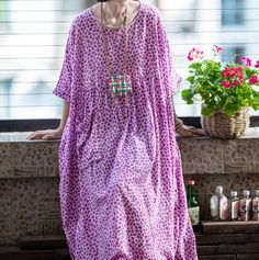 Women's plus size Dresses, summer cotton dress, Purple long dress, party dress, prom dress, boho Maxi dress