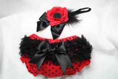 Red/Black Polka Dot Ruffled Bloomer Diaper Cover by pilycouture, $16.95