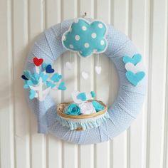 Cute Birds and Heart Tree Pastel Blues Baby Boy Door Wreath