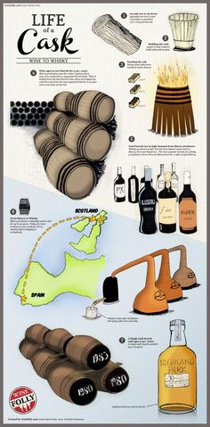 An infographic on the life of a cask, from wine to whiskey. Find out how casks are used from wine to whiskey and how Scotch is dependent on Sherry. Scotch Whisky, Wine Infographic, Infographics, Art Du Vin, Wine Cask, Wine Facts, Wine Folly, Wine Education, Single Malt Whisky
