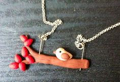 handmade polymer clay necklace cute little bird in tree