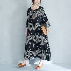 Loose Cotton-Linen Long Stripe Dress
