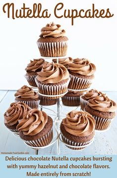 Delicious chocolate Nutella cupcakes bursting with yummy hazelnut and chocolate flavors. These cupcakes are made entirely from scratch. Köstliche Desserts, Best Dessert Recipes, Sweet Recipes, Delicious Desserts, Delicious Cupcakes, Delicious Chocolate, Chocolate Flavors, Chocolate Desserts, Desserts Nutella