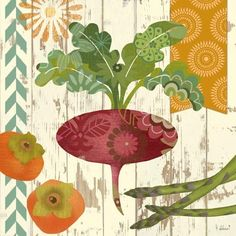 Freshen up your kitchen with our cheerful beet wall art, adorned with a bright bounty of garden fruits and vegetables. Unique Wall Art, Vintage Wall Art, Vintage Posters, Canvas Wall Art, Wall Art Prints, Cafe Pictures, Unique Picture Frames, Kitchen Wall Art, Illustrations