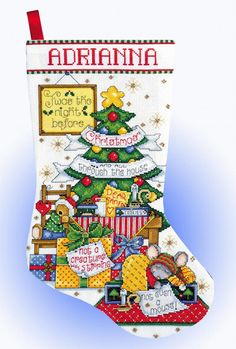 Design Works Crafts - Sleepy Mouse 5950, Christmas Counted Cross Stitch Stocking Kit Twas the night before Christmas and all through the house not