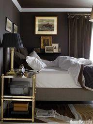 Luscious bedrooms - mylusciouslife.com - Dark bedroom. Design: Annie Brahler. Photo: Bjorn Wallander.
