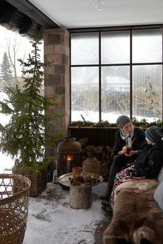 Porch in Denmark in Winter - Snowy White Christmas - Image from Sköna hem