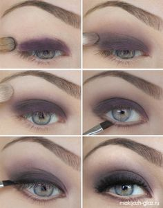 purple grey smokey eye makeup tutorial