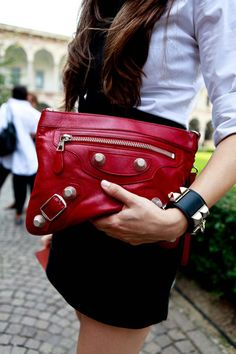 red moto zip clutch, pyramid studded leather cuff