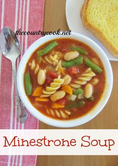 Minestrone Soup  2 tbsp. vegetable or olive oil  2 stalks celery, chopped (about 1 cup)  2 carrots, diced (about 1/2 cup)  1 small onion, diced  2 cloves garlic, minced (about 2 tsp.)  1 (32 oz.) box vegetable broth  1 (14.5 oz.) can diced Italian style tomatoes  1 (15 oz.) can crushed tomatoes or tomato soup  2 cups water  2 tsp. Italian seasoning  1 cup rotini pasta (uncooked)  1 (15.5 oz.) can canellini beans, drained and rinsed  1 cup frozen green beans  salt & pepper, to taste