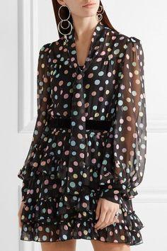 Marc Jacobs - Belted Polka-dot Chiffon Mini Dress - Black - US