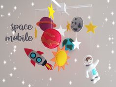 Your place to buy and sell all things handmade Baby Crib Mobile, Baby Cribs, Star Nursery, Nursery Decor, Planet Mobile, Felt Diy, Spaceships, Stars And Moon, Astronaut