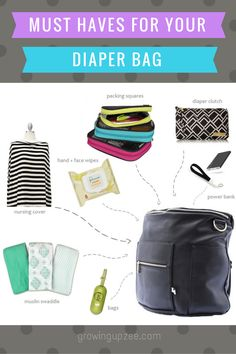 A diaper bag or nappy bag is a storage bag with many pocket-like spaces that is big enough to carry everything needed by someone taking care of a baby while taking a typical short outing. Diaper Bag Essentials, Kids Fever, Diaper Clutch, Baby Massage, Massage Meme, New Dads, Baby Hacks, Baby Feeding, Mom And Baby