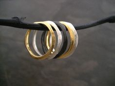 Wavy stacking rings set - solid sterling silver with gold and black rhodium plating. on Etsy, $89.00