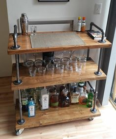 industrial furniture Best Industrial Pipe Furniture Designs for A Cool and Chic Home Decor BosiDOLOT Industrial Furniture, Bar Furniture, Diy Furniture, Home Furniture, Wood Bar Cart, Home Decor, Home Diy, Chic Home Decor, Industrial Decor Diy