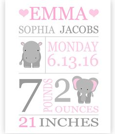 Birth announcement frames birth weight wall colors and birth announcement print baby name art personalized baby gift zoo birth announcement negle Gallery