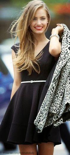 #street #fashion black dress + leopard print blazer @wachabuy