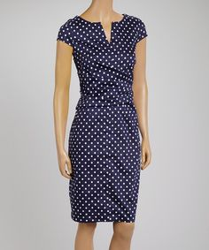 Look what I found on #zulily! Navy & White Polka Dot Ruched Notch Neck Dress by Joy Mark #zulilyfinds