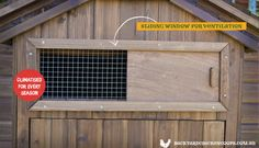 The Penthouse chicken coop comes with a slide window for ventilation