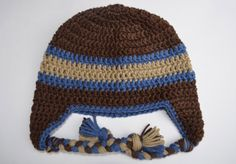 Boy Earflap Hat, Crochet Baby Boy Hat Brown with Taupe and Blue Stripes Custom Order in your size and 36 colors available on Etsy, $20.00
