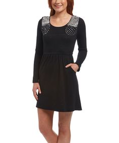 POCKETS Another great find on #zulily! Black Beaded Sweater Dress by Young Threads #zulilyfinds