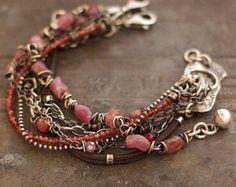 summer pastels - pink - bracelets - sterling silver - ruby
