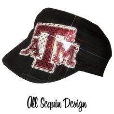 Sequin Cadet Cap Texas A and M by TheSassyBee on Etsy, $24.00 This is a hat I would wear!