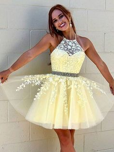 Short Beaded Lace Prom Dress Homecoming Graduation Cocktail Dresses 701119 Yellow Homecoming Dresses, Prom Party Dresses, Dress Party, Evening Dresses, Pageant Dresses, Tulle Lace, Beaded Lace, Denver, Photos Of Dresses