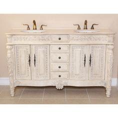 Aber 61 inch  Antique White Finish Double Sink Bathroom Vanities