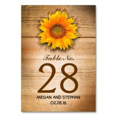 Sunflower Rustic Country Wedding Table Number Card Table Card for fall wedding