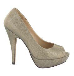 Zapato Peep Toe alto en Dorado Oscuro. Brillante y llamativo. Ref.6526  //High Peep Toe platform heel in dark Golden. Shiny and striking. Ref.6526