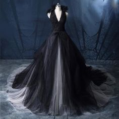 Gothic Sleeveless Haltered Tulle Wedding Gown - Gothic Sleeveless Haltered Tulle Wedding Gown – PurePunkRock Source by - Goth Wedding Dresses, Black Wedding Gowns, Wedding Dress Types, Fairy Wedding Dress, How To Dress For A Wedding, Tulle Wedding Gown, Amazing Wedding Dress, Designer Wedding Dresses, Bridal Dresses