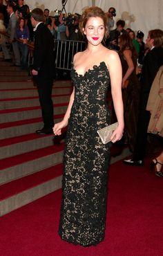Drew Barrymore in Oscar de la Renta (2006, Anglomania) evening dress